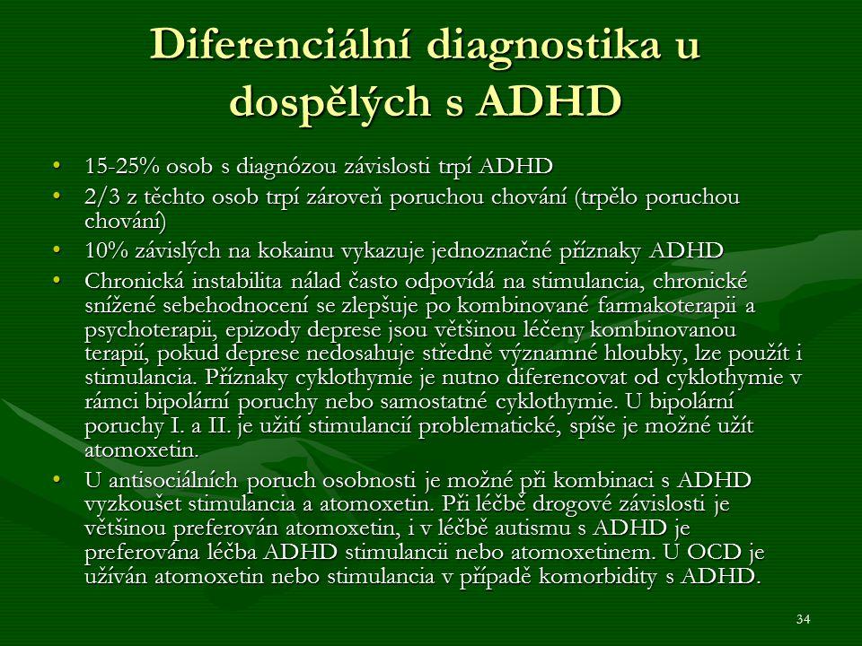 34 Diferenciální diagnostika u dospělých s ADHD 15-25% osob s diagnózou závislosti trpí ADHD15-25% osob s diagnózou závislosti trpí ADHD 2/3 z těchto osob trpí zároveň poruchou chování (trpělo poruchou chování)2/3 z těchto osob trpí zároveň poruchou chování (trpělo poruchou chování) 10% závislých na kokainu vykazuje jednoznačné příznaky ADHD10% závislých na kokainu vykazuje jednoznačné příznaky ADHD Chronická instabilita nálad často odpovídá na stimulancia, chronické snížené sebehodnocení se zlepšuje po kombinované farmakoterapii a psychoterapii, epizody deprese jsou většinou léčeny kombinovanou terapií, pokud deprese nedosahuje středně významné hloubky, lze použít i stimulancia.