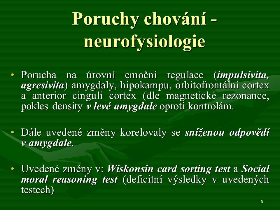8 Poruchy chování - neurofysiologie Porucha na úrovní emoční regulace (impulsivita, agresivita) amygdaly, hipokampu, orbitofrontální cortex a anterior cinguli cortex (dle magnetické rezonance, pokles density v levé amygdale oproti kontrolám.Porucha na úrovní emoční regulace (impulsivita, agresivita) amygdaly, hipokampu, orbitofrontální cortex a anterior cinguli cortex (dle magnetické rezonance, pokles density v levé amygdale oproti kontrolám.