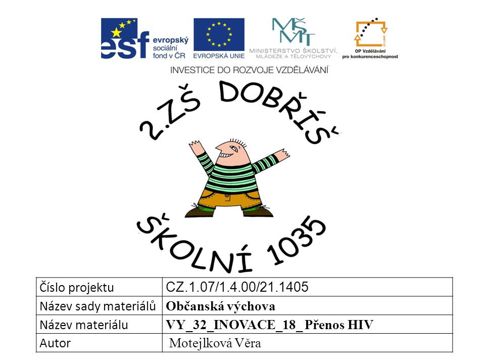 Číslo projektu CZ.1.07/1.4.00/21.1405 Název sady materiálů Občanská výchova Název materiálu VY_32_INOVACE_18_ Přenos HIV Autor Motejlková Věra