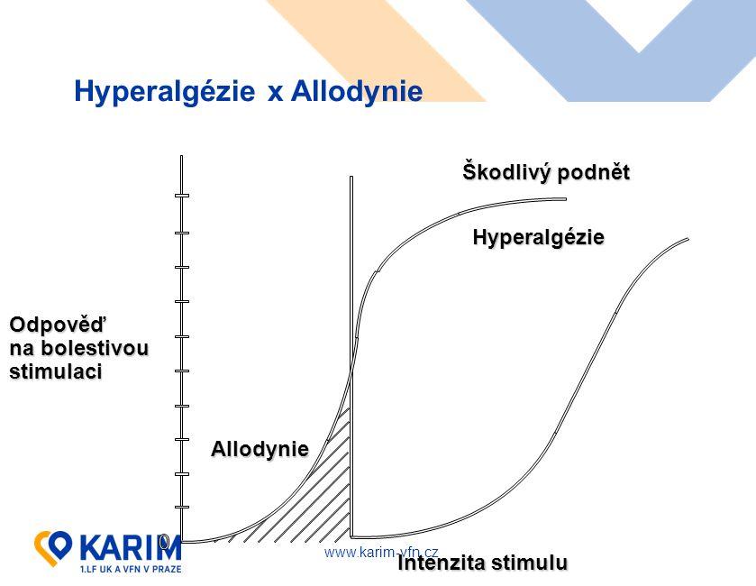 www.karim-vfn.cz Hyperalgézie x Allodynie Škodlivý podnět Hyperalgézie Allodynie Intenzita stimulu Odpověď na bolestivou stimulaci