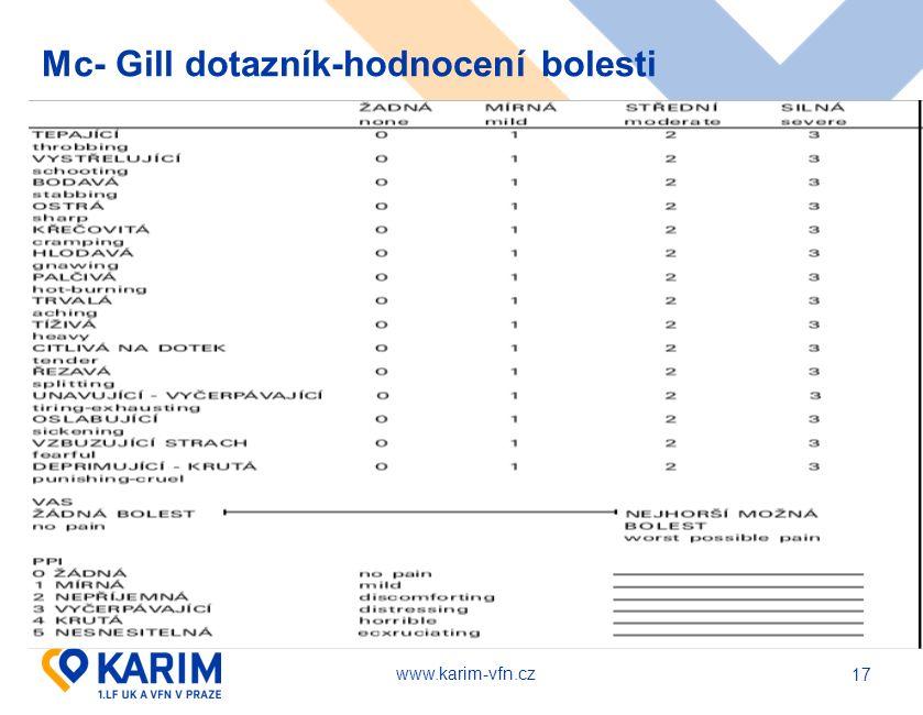 www.karim-vfn.cz Mc- Gill dotazník-hodnocení bolesti 17
