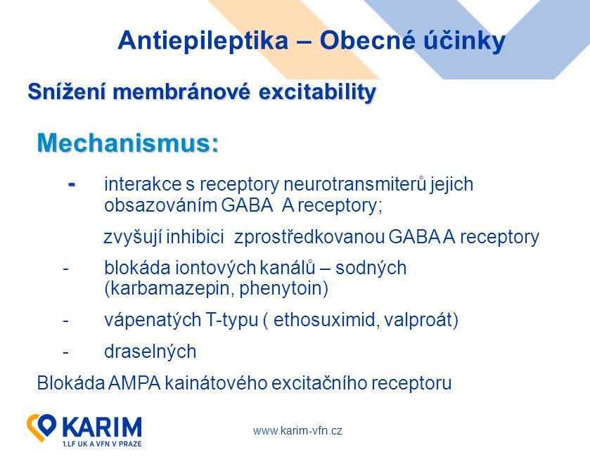 www.karim-vfn.cz Antiepileptika – Obecné účinky Snížení membránové excitability Mechanismus: - - interakce s receptory neurotransmiterů jejich obsazováním GABA A receptory; zvyšují inhibici zprostředkovanou GABA A receptory - blokáda iontových kanálů – sodných (karbamazepin, phenytoin) - vápenatých T-typu ( ethosuximid, valproát) - draselných Blokáda AMPA kainátového excitačního receptoru