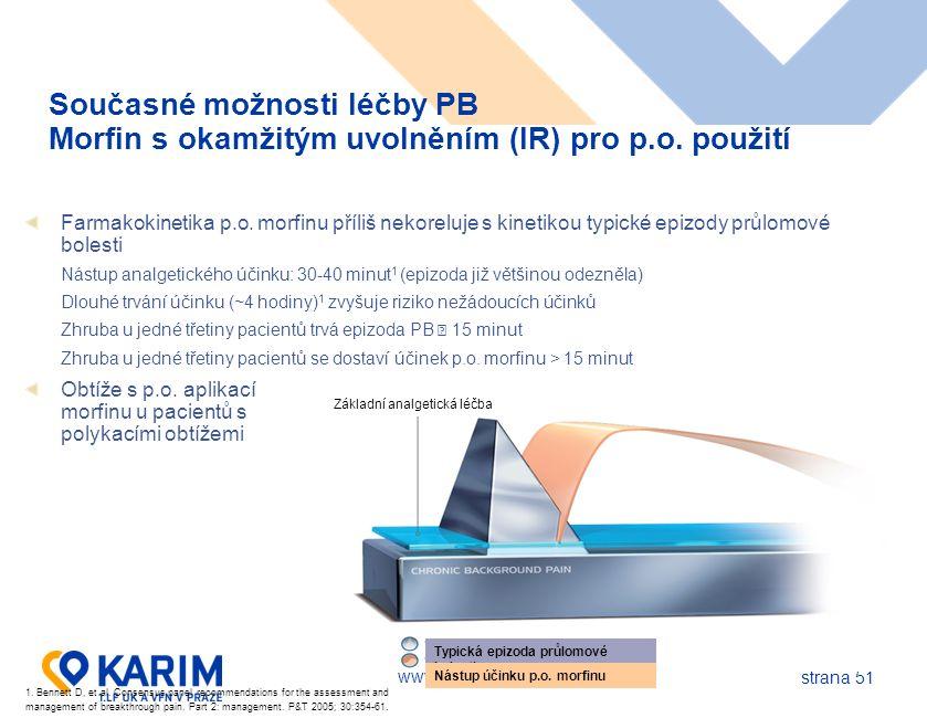 www.karim-vfn.cz strana 51 Současné možnosti léčby PB Morfin s okamžitým uvolněním (IR) pro p.o.