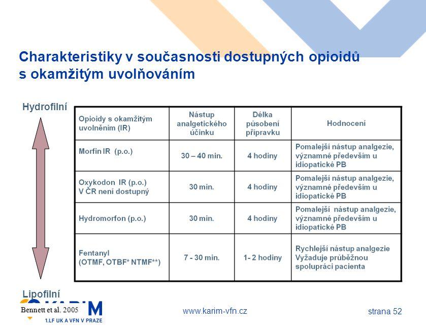 www.karim-vfn.cz strana 52 Bennett et al. 2005 Charakteristiky v současnosti dostupných opioidů s okamžitým uvolňováním Hydrofilní Lipofilní
