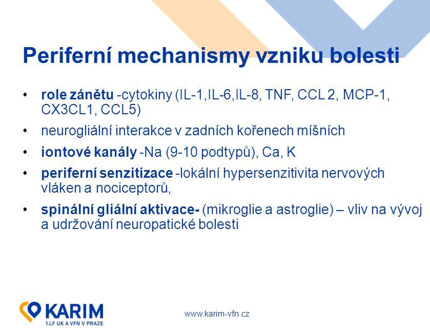 www.karim-vfn.cz Periferní mechanismy vzniku bolesti role zánětu -cytokiny (IL-1,IL-6,IL-8, TNF, CCL 2, MCP-1, CX3CL1, CCL5) neurogliální interakce v zadních kořenech míšních iontové kanály -Na (9-10 podtypů), Ca, K periferní senzitizace -lokální hypersenzitivita nervových vláken a nociceptorů, spinální gliální aktivace- (mikroglie a astroglie) – vliv na vývoj a udržování neuropatické bolesti