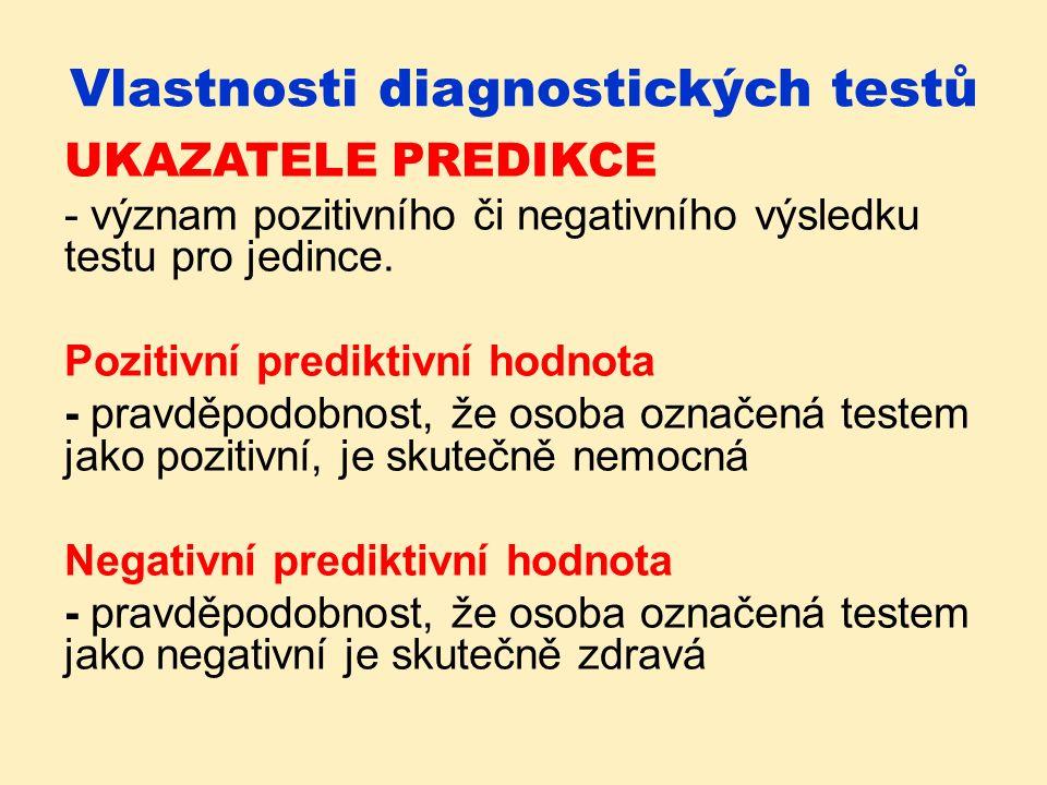 Vlastnosti diagnostických testů UKAZATELE PREDIKCE - význam pozitivního či negativního výsledku testu pro jedince.