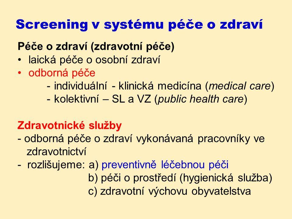 Screening v systému péče o zdraví Péče o zdraví (zdravotní péče) laická péče o osobní zdraví odborná péče -individuální - klinická medicína (medical care) -kolektivní – SL a VZ (public health care) Zdravotnické služby - odborná péče o zdraví vykonávaná pracovníky ve zdravotnictví - rozlišujeme: a) preventivně léčebnou péči b) péči o prostředí (hygienická služba) c) zdravotní výchovu obyvatelstva