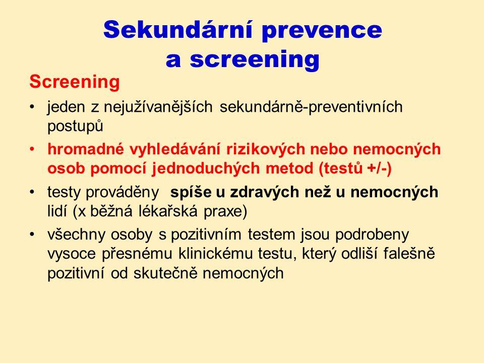 Podmínky pro použití screeningu Vyhledávané onemocnění má pro jednotlivce závažné následky.