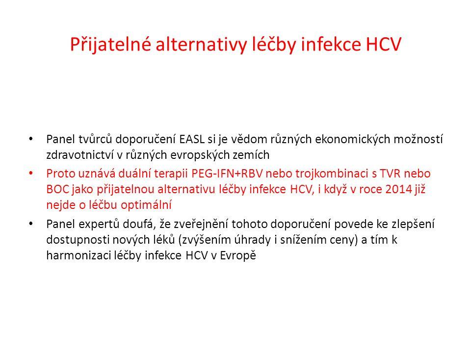 Přijatelné alternativy léčby infekce HCV Panel tvůrců doporučení EASL si je vědom různých ekonomických možností zdravotnictví v různých evropských zemích Proto uznává duální terapii PEG-IFN+RBV nebo trojkombinaci s TVR nebo BOC jako přijatelnou alternativu léčby infekce HCV, i když v roce 2014 již nejde o léčbu optimální Panel expertů doufá, že zveřejnění tohoto doporučení povede ke zlepšení dostupnosti nových léků (zvýšením úhrady i snížením ceny) a tím k harmonizaci léčby infekce HCV v Evropě