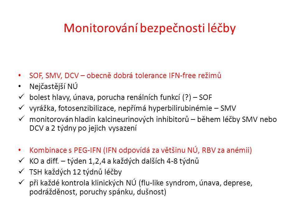 Monitorování bezpečnosti léčby SOF, SMV, DCV – obecně dobrá tolerance IFN-free režimů Nejčastější NÚ bolest hlavy, únava, porucha renálních funkcí ( ) – SOF vyrážka, fotosenzibilizace, nepřímá hyperbilirubinémie – SMV monitorován hladin kalcineurinových inhibitorů – během léčby SMV nebo DCV a 2 týdny po jejich vysazení Kombinace s PEG-IFN (IFN odpovídá za většinu NÚ, RBV za anémii) KO a diff.
