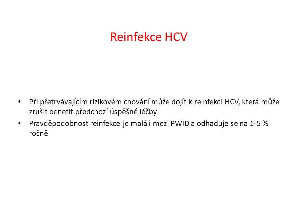 Reinfekce HCV Při přetrvávajícím rizikovém chování může dojít k reinfekci HCV, která může zrušit benefit předchozí úspěšné léčby Pravděpodobnost reinfekce je malá i mezi PWID a odhaduje se na 1-5 % ročně