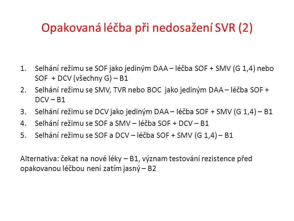 Opakovaná léčba při nedosažení SVR (2) 1.Selhání režimu se SOF jako jediným DAA – léčba SOF + SMV (G 1,4) nebo SOF + DCV (všechny G) – B1 2.Selhání režimu se SMV, TVR nebo BOC jako jediným DAA – léčba SOF + DCV – B1 3.Selhání režimu se DCV jako jediným DAA – léčba SOF + SMV (G 1,4) – B1 4.Selhání režimu se SOF a SMV – léčba SOF + DCV – B1 5.Selhání režimu se SOF a DCV – léčba SOF + SMV (G 1,4) – B1 Alternativa: čekat na nové léky – B1, význam testování rezistence před opakovanou léčbou není zatím jasný – B2