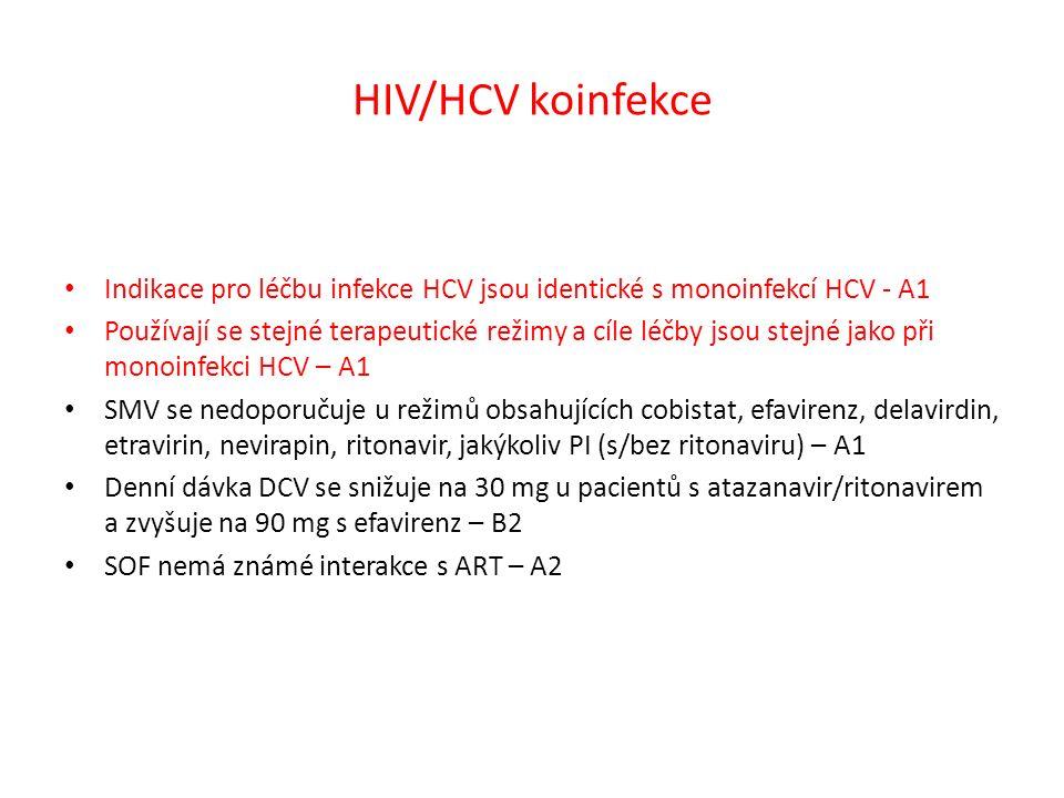 HIV/HCV koinfekce Indikace pro léčbu infekce HCV jsou identické s monoinfekcí HCV - A1 Používají se stejné terapeutické režimy a cíle léčby jsou stejné jako při monoinfekci HCV – A1 SMV se nedoporučuje u režimů obsahujících cobistat, efavirenz, delavirdin, etravirin, nevirapin, ritonavir, jakýkoliv PI (s/bez ritonaviru) – A1 Denní dávka DCV se snižuje na 30 mg u pacientů s atazanavir/ritonavirem a zvyšuje na 90 mg s efavirenz – B2 SOF nemá známé interakce s ART – A2