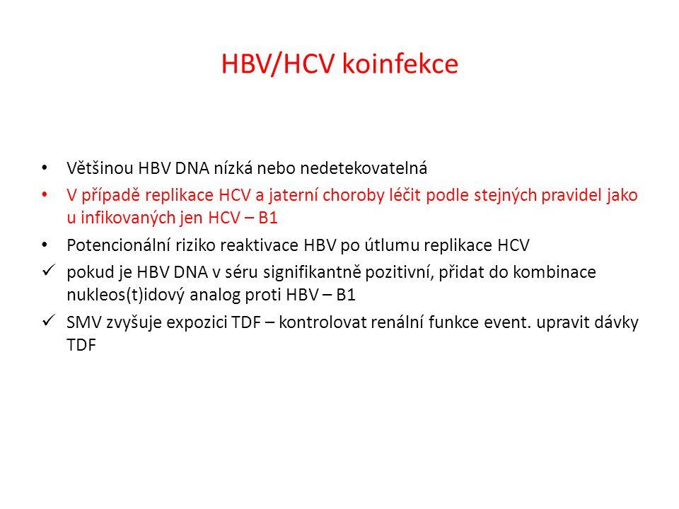 HBV/HCV koinfekce Většinou HBV DNA nízká nebo nedetekovatelná V případě replikace HCV a jaterní choroby léčit podle stejných pravidel jako u infikovaných jen HCV – B1 Potencionální riziko reaktivace HBV po útlumu replikace HCV pokud je HBV DNA v séru signifikantně pozitivní, přidat do kombinace nukleos(t)idový analog proti HBV – B1 SMV zvyšuje expozici TDF – kontrolovat renální funkce event.