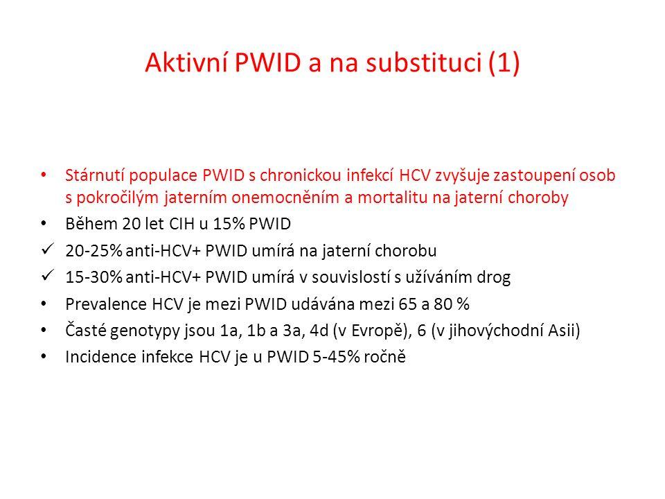 Aktivní PWID a na substituci (1) Stárnutí populace PWID s chronickou infekcí HCV zvyšuje zastoupení osob s pokročilým jaterním onemocněním a mortalitu na jaterní choroby Během 20 let CIH u 15% PWID 20-25% anti-HCV+ PWID umírá na jaterní chorobu 15-30% anti-HCV+ PWID umírá v souvislostí s užíváním drog Prevalence HCV je mezi PWID udávána mezi 65 a 80 % Časté genotypy jsou 1a, 1b a 3a, 4d (v Evropě), 6 (v jihovýchodní Asii) Incidence infekce HCV je u PWID 5-45% ročně