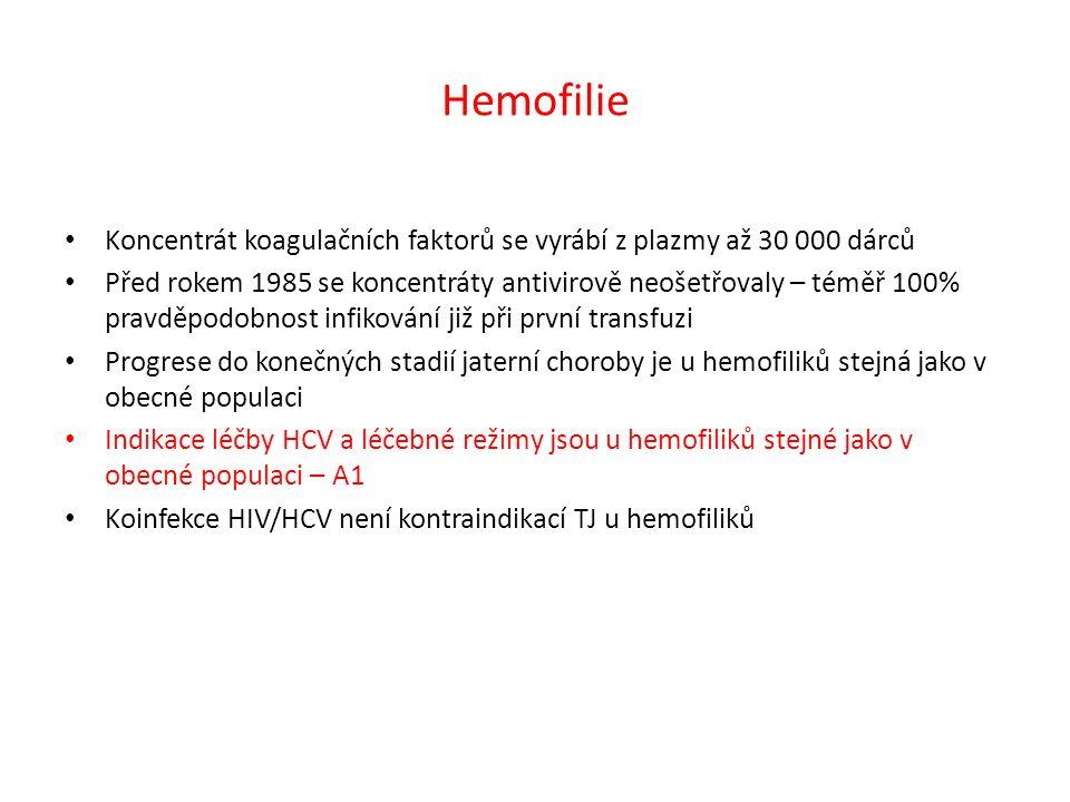 Hemofilie Koncentrát koagulačních faktorů se vyrábí z plazmy až 30 000 dárců Před rokem 1985 se koncentráty antivirově neošetřovaly – téměř 100% pravděpodobnost infikování již při první transfuzi Progrese do konečných stadií jaterní choroby je u hemofiliků stejná jako v obecné populaci Indikace léčby HCV a léčebné režimy jsou u hemofiliků stejné jako v obecné populaci – A1 Koinfekce HIV/HCV není kontraindikací TJ u hemofiliků