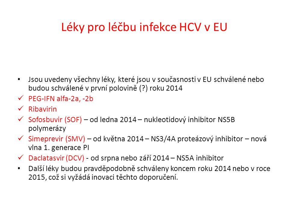 Léky pro léčbu infekce HCV v EU Jsou uvedeny všechny léky, které jsou v současnosti v EU schválené nebo budou schválené v první polovině ( ) roku 2014 PEG-IFN alfa-2a, -2b Ribavirin Sofosbuvir (SOF) – od ledna 2014 – nukleotidový inhibitor NS5B polymerázy Simeprevir (SMV) – od května 2014 – NS3/4A proteázový inhibitor – nová vlna 1.