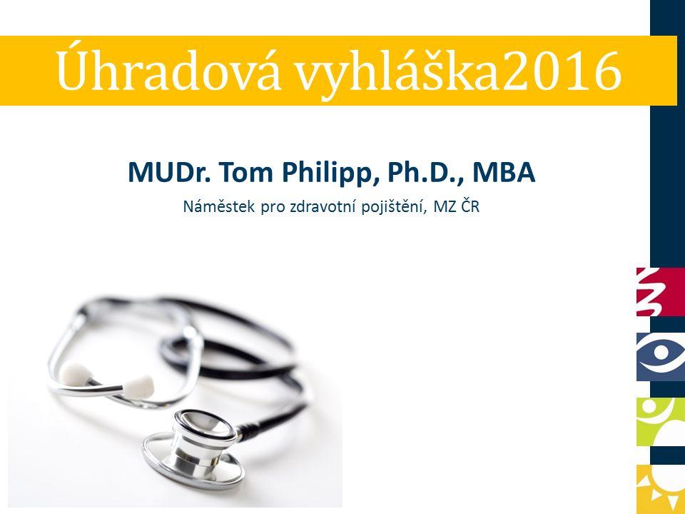 Úhradová vyhláška2016 MUDr. Tom Philipp, Ph.D., MBA Náměstek pro zdravotní pojištění, MZ ČR