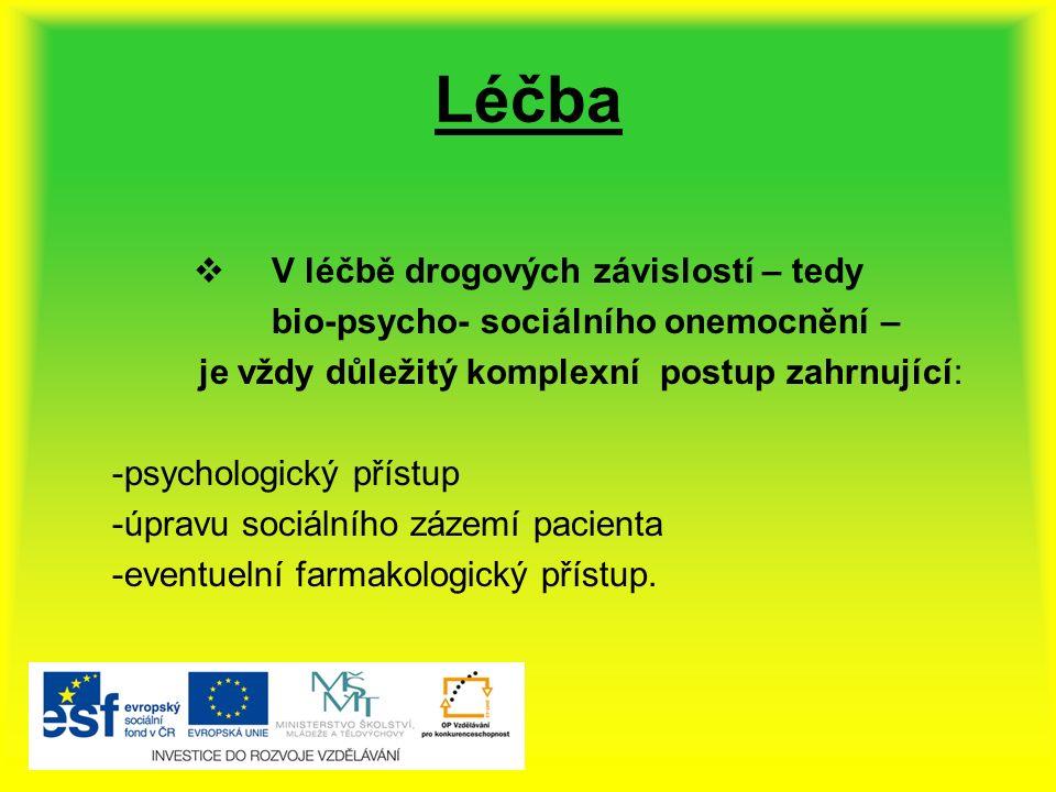Léčba  V léčbě drogových závislostí – tedy bio-psycho- sociálního onemocnění – je vždy důležitý komplexní postup zahrnující: -psychologický přístup -úpravu sociálního zázemí pacienta -eventuelní farmakologický přístup.