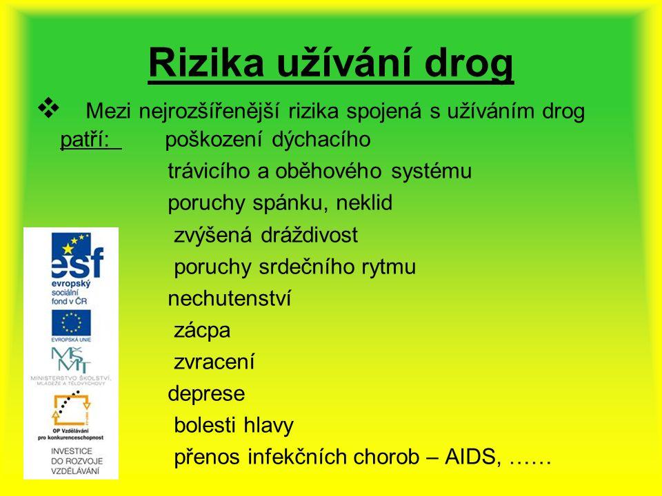 Rizika užívání drog  Mezi nejrozšířenější rizika spojená s užíváním drog patří: poškození dýchacího trávicího a oběhového systému poruchy spánku, neklid zvýšená dráždivost poruchy srdečního rytmu nechutenství zácpa zvracení deprese bolesti hlavy přenos infekčních chorob – AIDS, ……