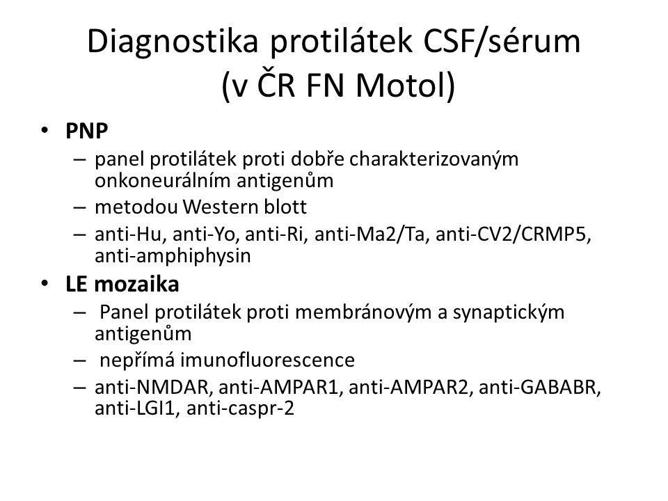Diagnostika protilátek CSF/sérum (v ČR FN Motol) PNP – panel protilátek proti dobře charakterizovaným onkoneurálním antigenům – metodou Western blott – anti-Hu, anti-Yo, anti-Ri, anti-Ma2/Ta, anti-CV2/CRMP5, anti-amphiphysin LE mozaika – Panel protilátek proti membránovým a synaptickým antigenům – nepřímá imunofluorescence – anti-NMDAR, anti-AMPAR1, anti-AMPAR2, anti-GABABR, anti-LGI1, anti-caspr-2