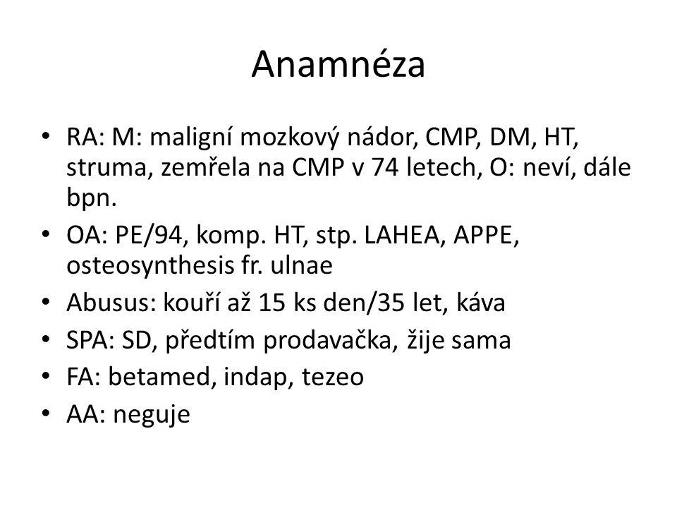 Anamnéza RA: M: maligní mozkový nádor, CMP, DM, HT, struma, zemřela na CMP v 74 letech, O: neví, dále bpn.
