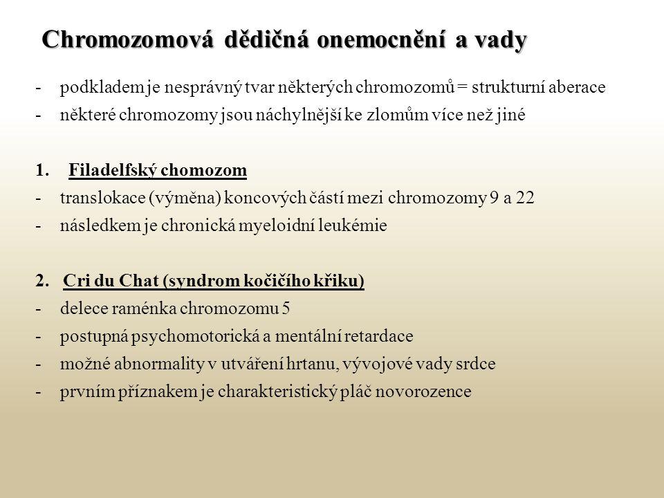 Chromozomová dědičná onemocnění a vady -podkladem je nesprávný tvar některých chromozomů = strukturní aberace -některé chromozomy jsou náchylnější ke zlomům více než jiné 1.Filadelfský chomozom -translokace (výměna) koncových částí mezi chromozomy 9 a 22 -následkem je chronická myeloidní leukémie 2.