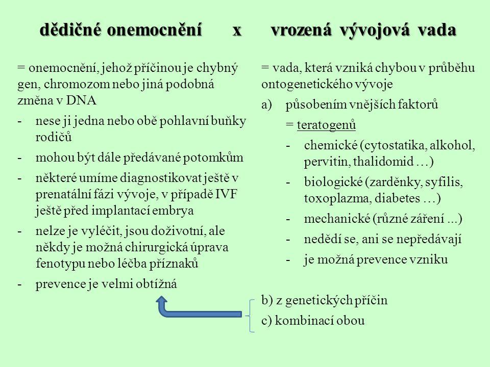 Genová dědičná onemocnění a vady -k chybě dojde jen v jednom genu -následkem je neschopnost syntetizovat určitou látku = molekulární choroba - pokud tato látka má v organismu funkci enzymu = metabolická choroba -geny mohou ležet na gonozomech i autozomech -mohou se projevovat dominantně i recesivně -většina nemocí je děděna recesivně = onemocnění se projeví jen u recesivního homozygota