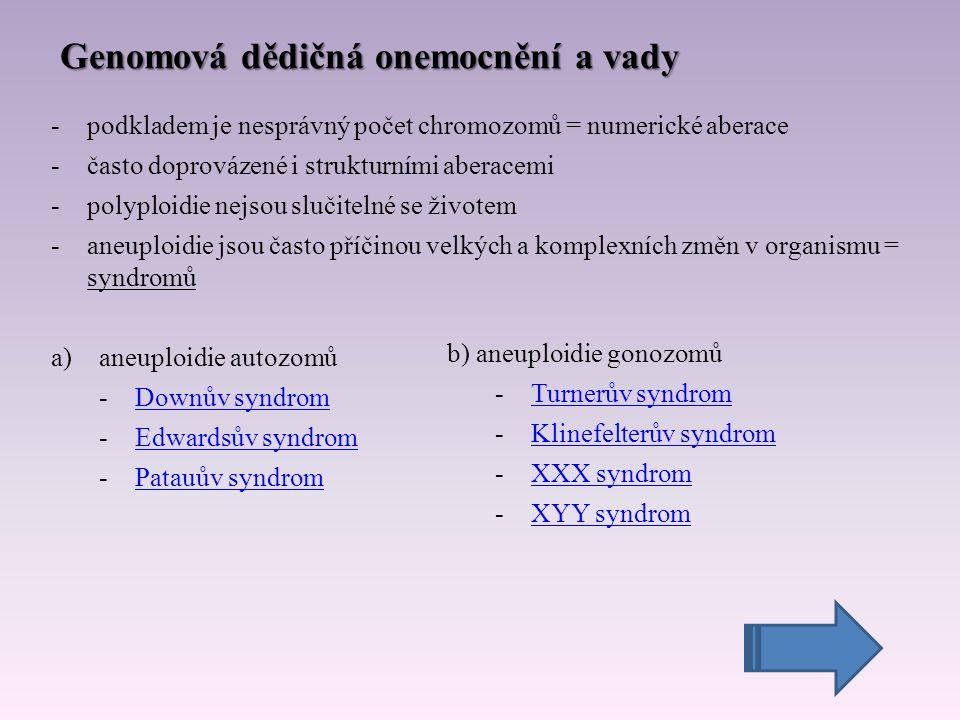 Genomová dědičná onemocnění a vady -podkladem je nesprávný počet chromozomů = numerické aberace -často doprovázené i strukturními aberacemi -polyploidie nejsou slučitelné se životem -aneuploidie jsou často příčinou velkých a komplexních změn v organismu = syndromů a)aneuploidie autozomů -Downův syndromDownův syndrom -Edwardsův syndromEdwardsův syndrom -Patauův syndromPatauův syndrom b) aneuploidie gonozomů -Turnerův syndromTurnerův syndrom -Klinefelterův syndromKlinefelterův syndrom -XXX syndromXXX syndrom -XYY syndromXYY syndrom