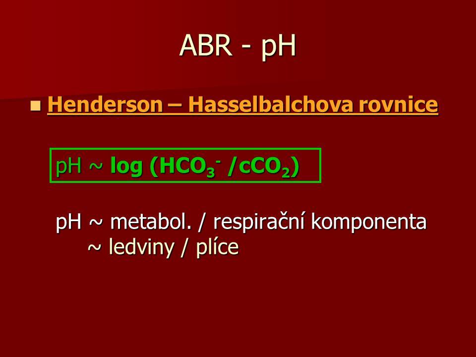 ABR - pH Henderson – Hasselbalchova rovnice Henderson – Hasselbalchova rovnice pH ~ log (HCO 3 - /cCO 2 ) pH ~ log (HCO 3 - /cCO 2 ) pH ~ metabol.