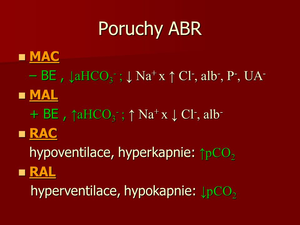 Poruchy ABR MAC MAC – BE, ↓aHCO 3 - ; ↓ Na + x ↑ Cl -, alb -, P -, UA - MAL MAL + BE, ↑aHCO 3 - ; ↑ Na + x ↓ Cl -, alb - RAC RAC hypoventilace, hyperkapnie: ↑pCO 2 RAL RAL hyperventilace, hypokapnie: ↓pCO 2 hyperventilace, hypokapnie: ↓pCO 2