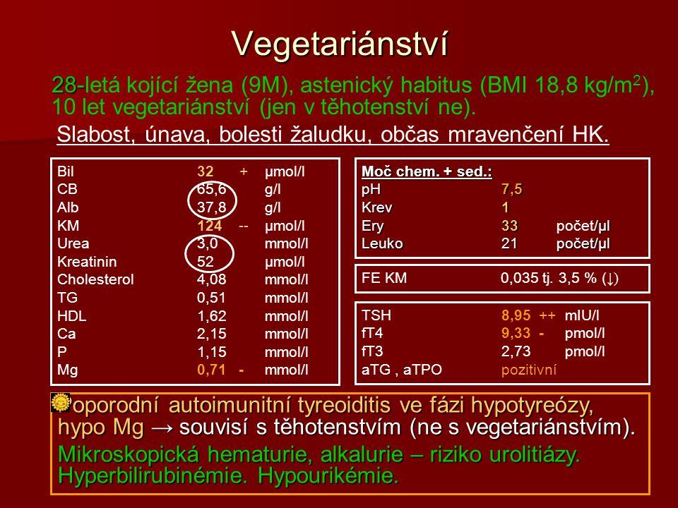 Vegetariánství 28- 28-letá kojící žena (9M), astenický habitus (BMI 18,8 kg/m 2 ), 10 let vegetariánství (jen v těhotenství ne).