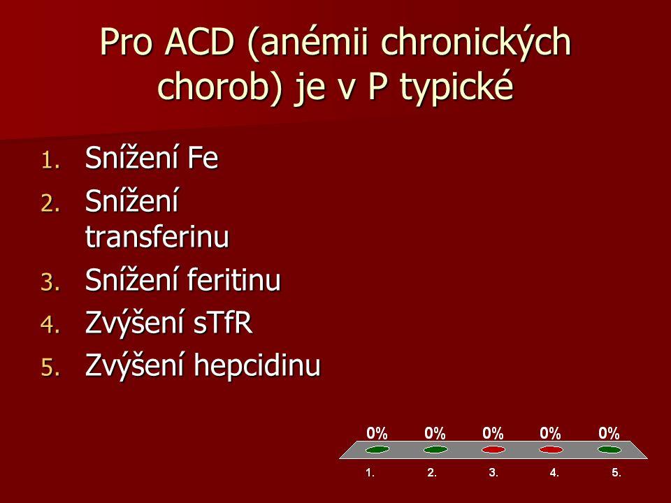 Pro ACD (anémii chronických chorob) je v P typické 1.