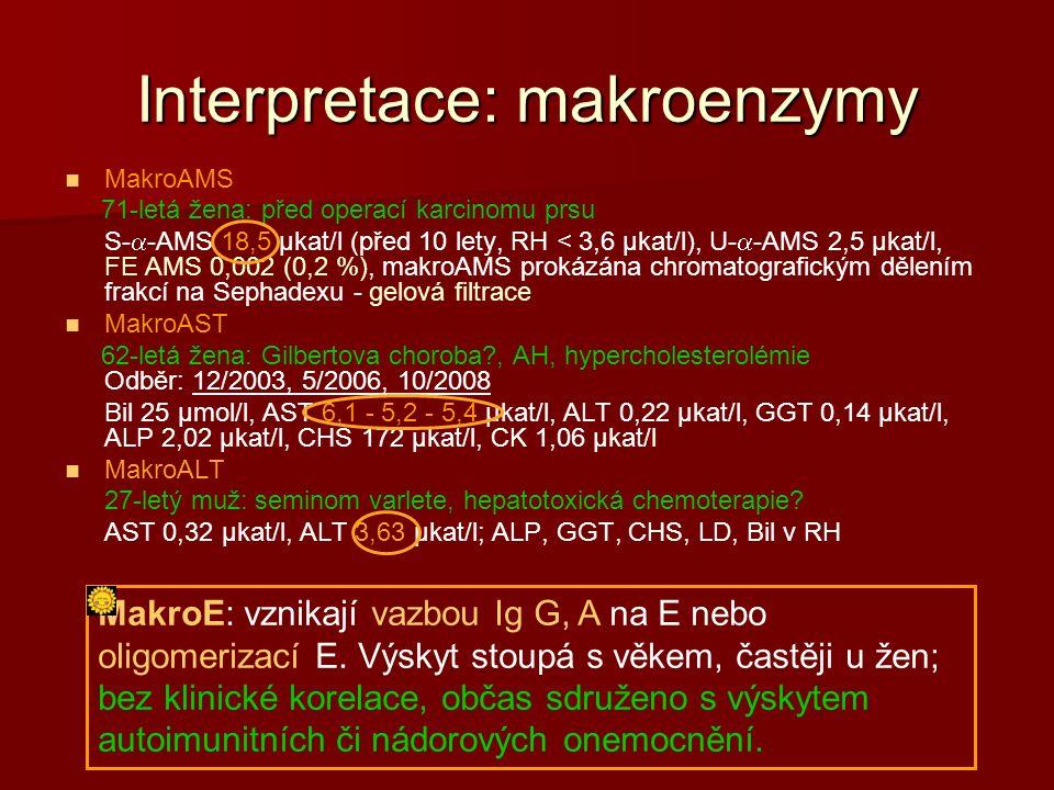 Interpretace: makroenzymy MakroAMS 71-letá žena: před operací karcinomu prsu S-  -AMS 18,5 µkat/l (před 10 lety, RH < 3,6 µkat/l), U-  -AMS 2,5 µkat/l, FE AMS 0,002 (0,2 %), makroAMS prokázána chromatografickým dělením frakcí na Sephadexu - gelová filtrace MakroAST 62-letá žena: Gilbertova choroba?, AH, hypercholesterolémie Odběr: 12/2003, 5/2006, 10/2008 Bil 25 µmol/l, AST 6,1 - 5,2 - 5,4 µkat/l, ALT 0,22 µkat/l, GGT 0,14 µkat/l, ALP 2,02 µkat/l, CHS 172 µkat/l, CK 1,06 µkat/l MakroALT 27-letý muž: seminom varlete, hepatotoxická chemoterapie.