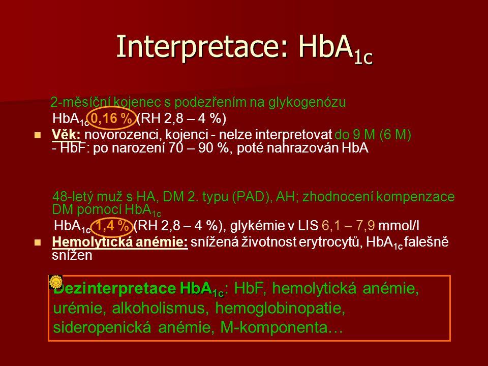 Interpretace: HbA 1c 2-měsíční kojenec s podezřením na glykogenózu HbA 1c 0,16 % (RH 2,8 – 4 %) Věk: novorozenci, kojenci - nelze interpretovat do 9 M (6 M) - HbF: po narození 70 – 90 %, poté nahrazován HbA 48-letý muž s HA, DM 2.