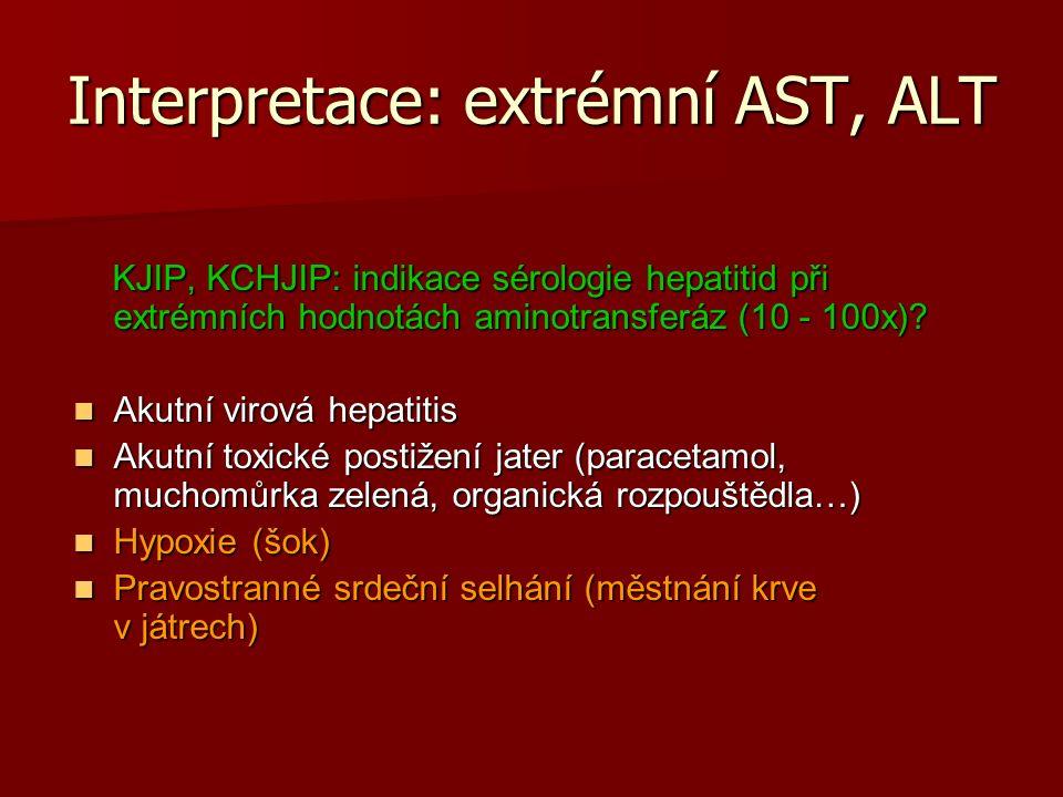 Interpretace: extrémní AST, ALT KJIP, KCHJIP: indikace sérologie hepatitid při extrémních hodnotách aminotransferáz (10 - 100x).