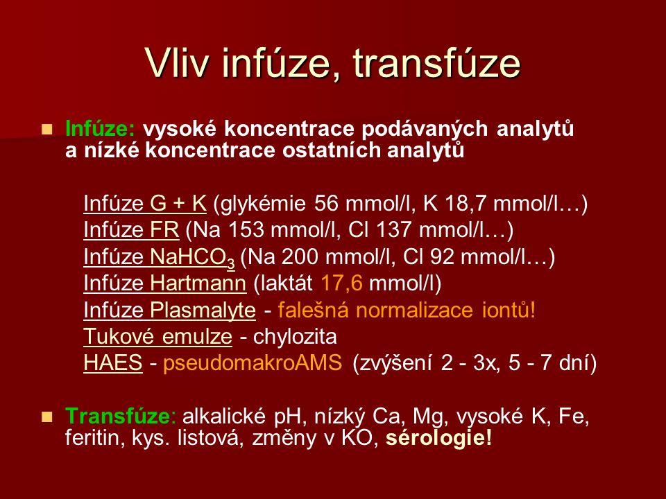 Vliv infúze, transfúze Infúze: vysoké koncentrace podávaných analytů a nízké koncentrace ostatních analytů Infúze G + K (glykémie 56 mmol/l, K 18,7 mmol/l…) Infúze FR (Na 153 mmol/l, Cl 137 mmol/l…) Infúze NaHCO 3 (Na 200 mmol/l, Cl 92 mmol/l…) Infúze Hartmann (laktát 17,6 mmol/l) Infúze Plasmalyte - falešná normalizace iontů.