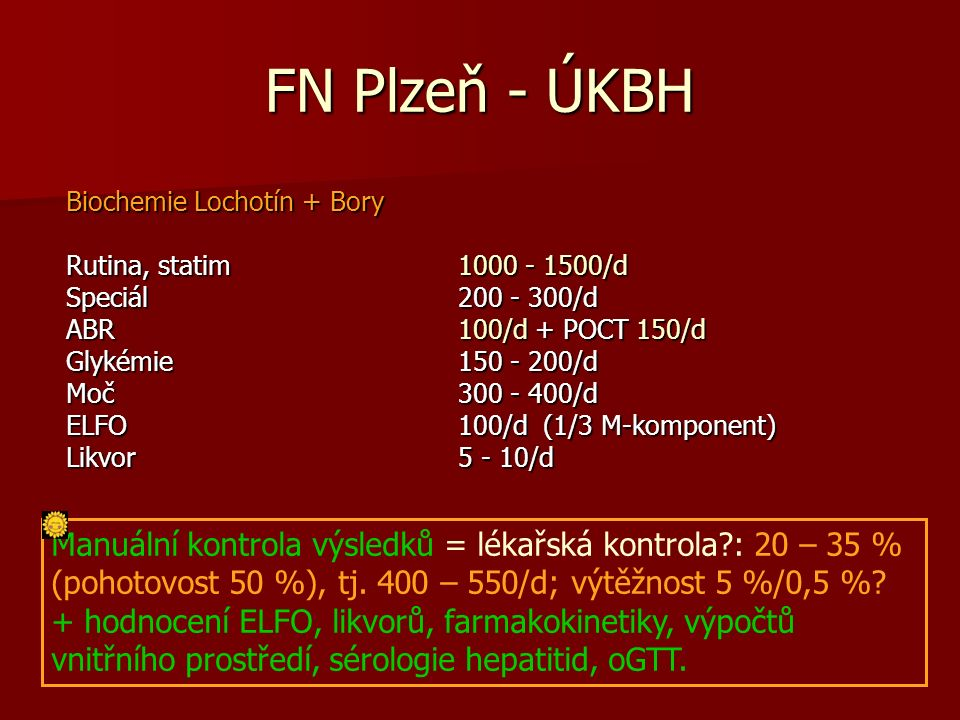 FN Plzeň - ÚKBH Biochemie Lochotín + Bory Rutina, statim 1000 - 1500/d Speciál 200 - 300/d ABR 100/d + POCT 150/d Glykémie 150 - 200/d Moč 300 - 400/d ELFO 100/d (1/3 M-komponent) Likvor 5 - 10/d Manuální kontrola výsledků = lékařská kontrola : 20 – 35 % (pohotovost 50 %), tj.