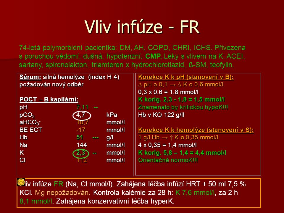 Interpretace: vliv léčby 67-letý pacient s AML v kompletní remisi ¾ R, st.