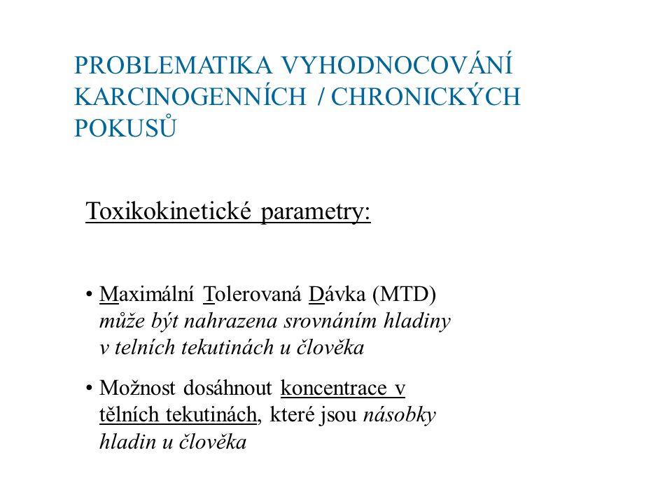 PROBLEMATIKA VYHODNOCOVÁNÍ KARCINOGENNÍCH / CHRONICKÝCH POKUSŮ Toxikokinetické parametry: Maximální Tolerovaná Dávka (MTD) může být nahrazena srovnáním hladiny v telních tekutinách u člověka Možnost dosáhnout koncentrace v tělních tekutinách, které jsou násobky hladin u člověka