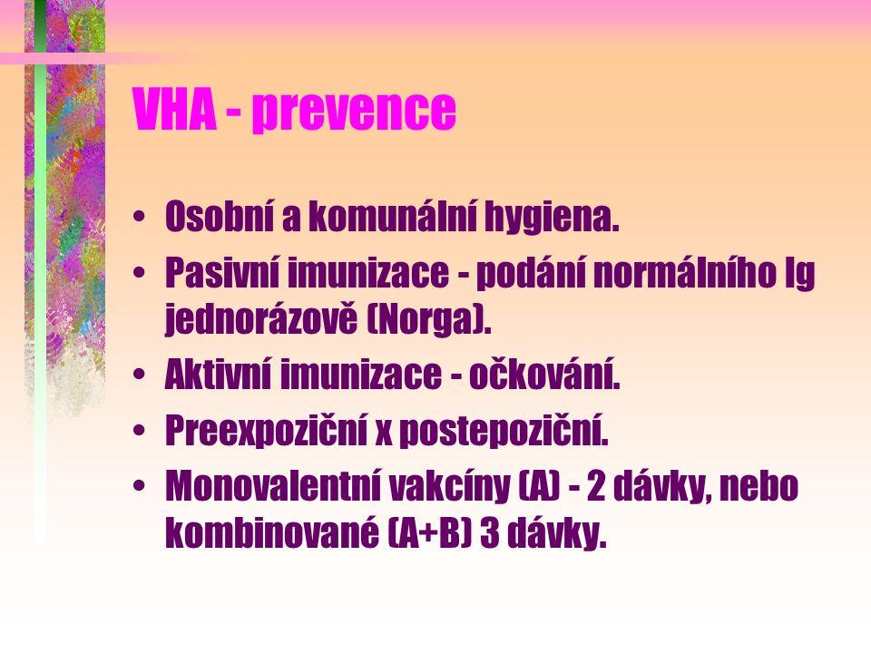 VHA - prevence Osobní a komunální hygiena. Pasivní imunizace - podání normálního Ig jednorázově (Norga). Aktivní imunizace - očkování. Preexpoziční x