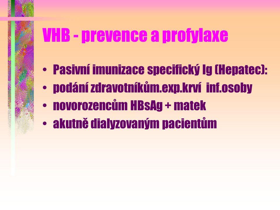 VHB - prevence a profylaxe Pasivní imunizace specifický Ig (Hepatec): podání zdravotníkům.exp.krví inf.osoby novorozencům HBsAg + matek akutně dialyzovaným pacientům