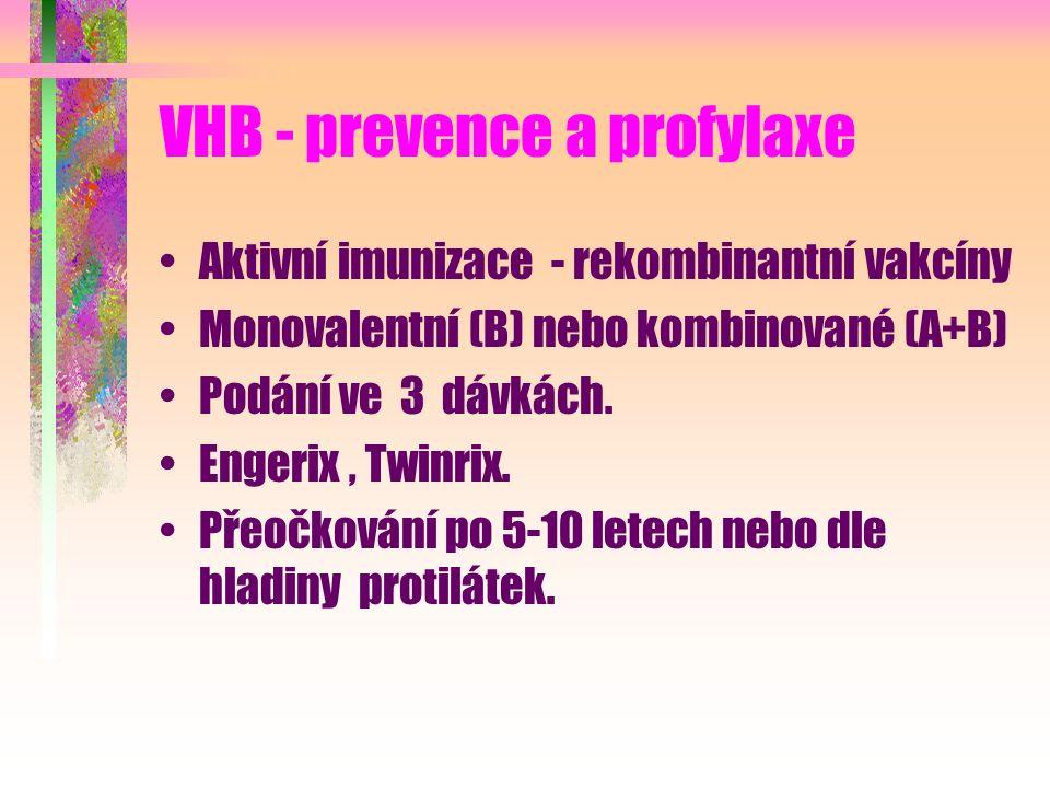 VHB - prevence a profylaxe Aktivní imunizace - rekombinantní vakcíny Monovalentní (B) nebo kombinované (A+B) Podání ve 3 dávkách. Engerix, Twinrix. Př