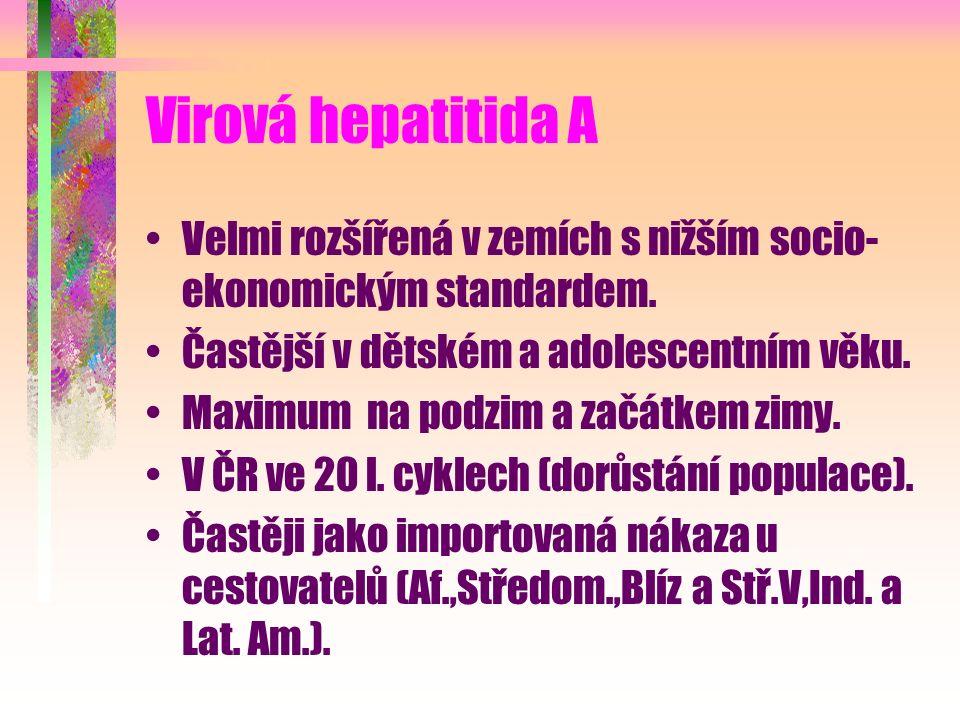 Virová hepatitida A Velmi rozšířená v zemích s nižším socio- ekonomickým standardem. Častější v dětském a adolescentním věku. Maximum na podzim a začá