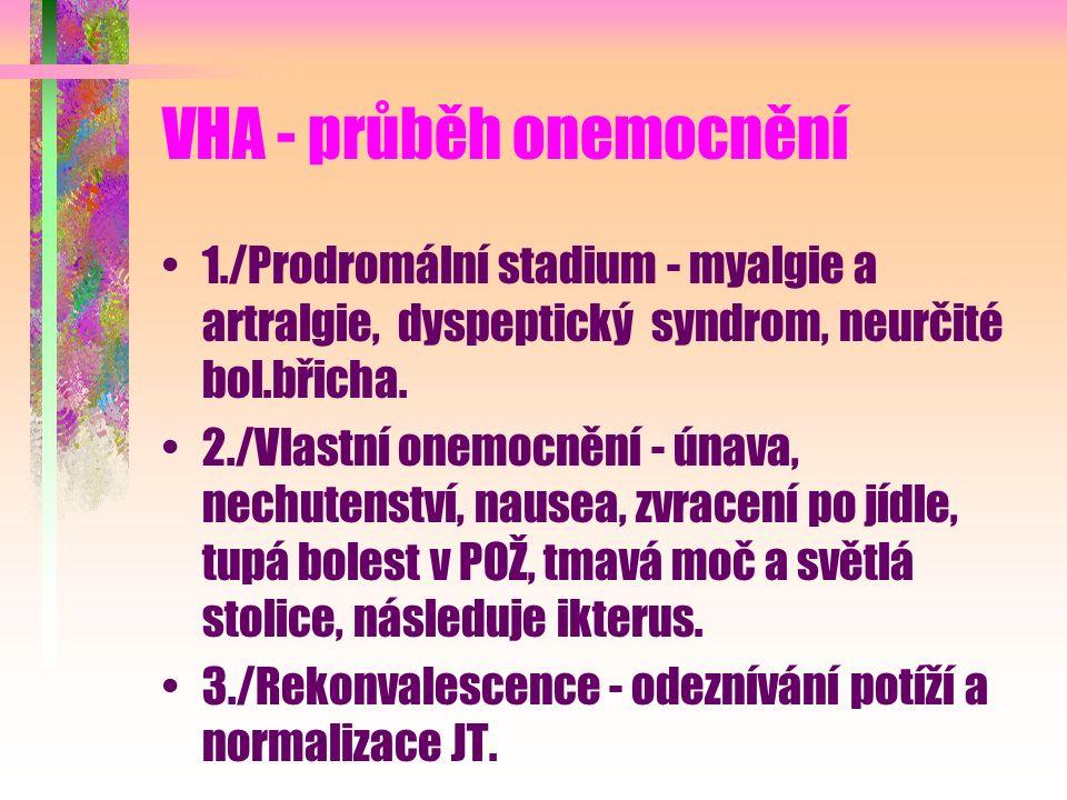 VHA - průběh onemocnění 1./Prodromální stadium - myalgie a artralgie, dyspeptický syndrom, neurčité bol.břicha. 2./Vlastní onemocnění - únava, nechute
