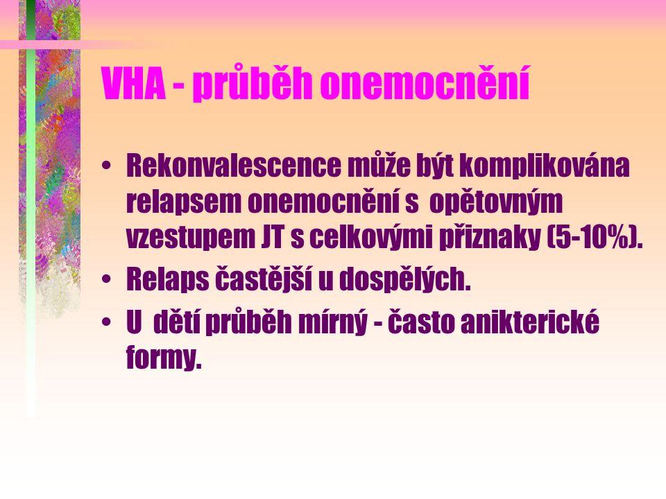 VHA - průběh onemocnění Rekonvalescence může být komplikována relapsem onemocnění s opětovným vzestupem JT s celkovými přiznaky (5-10%). Relaps častěj