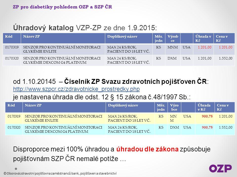 ZP pro diabetiky pohledem OZP a SZP ČR Úhradový katalog VZP-ZP ze dne 1.9.2015: od 1.10.20145 – Číselník ZP Svazu zdravotních pojišťoven ČR: http://ww