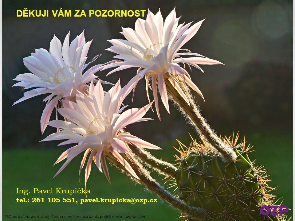 DĚKUJI VÁM ZA POZORNOST Ing. Pavel Krupička tel.: 261 105 551, pavel.krupicka@ozp.cz ©Oborová zdravotní pojišťovna zaměstnanců bank, pojišťoven a stav