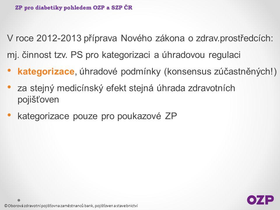 ZP pro diabetiky pohledem OZP a SZP ČR V roce 2012-2013 příprava Nového zákona o zdrav.prostředcích: mj. činnost tzv. PS pro kategorizaci a úhradovou