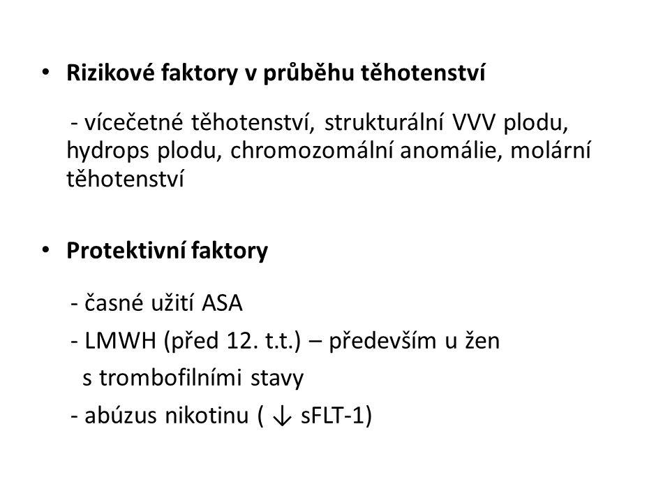 Rizikové faktory v průběhu těhotenství - vícečetné těhotenství, strukturální VVV plodu, hydrops plodu, chromozomální anomálie, molární těhotenství Protektivní faktory - časné užití ASA - LMWH (před 12.